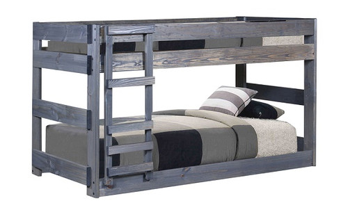 Tribeca Distressed Low Twin over Twin Bunk Beds Distressed Walnut