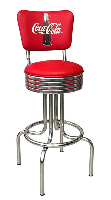Coke Red with Red Stripes Footrest Stool
