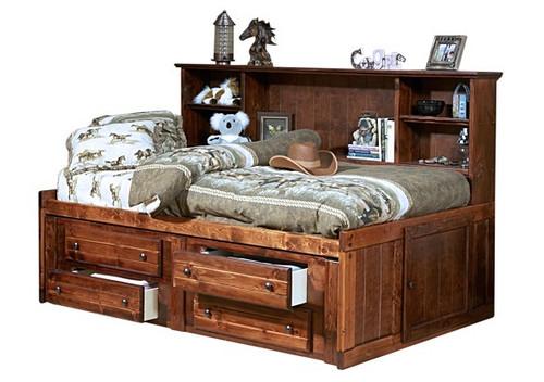 Prescott Cocoa Big Bookcase Bed with Storage