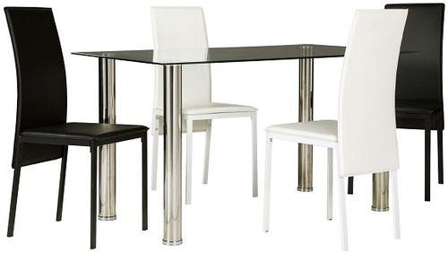 Liam 5 Piece Black and White Dining Set