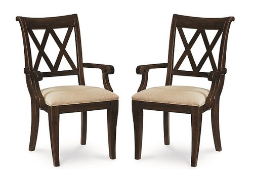 Kingsley Distressed Mocha Set of 2 X Back Dining Chairs with Arms