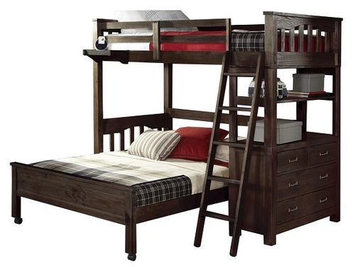 Nielsen Distressed Espresso L Shaped Loft Bed twin over full size