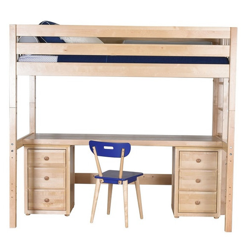 Becks Natural XL Loft Bed with Desk and Storage