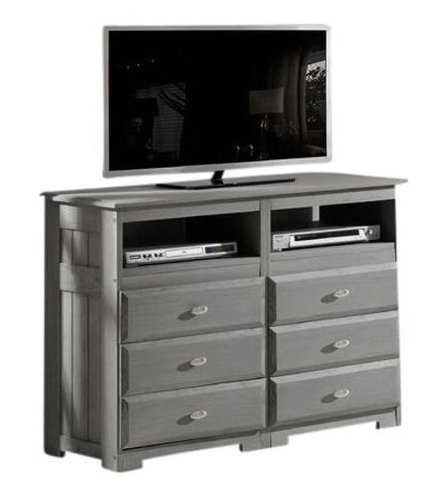 Mercer Chimney Gray 6 Drawer Media Dresser