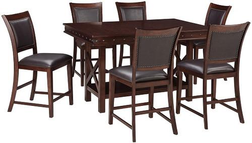 Marina Dark Brown 7 Piece Counter Height Dining Set