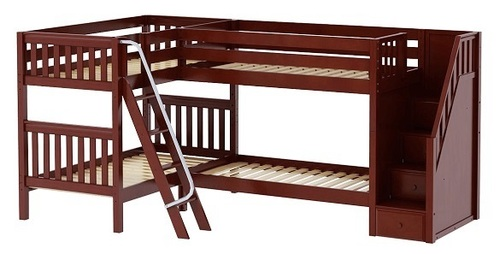 Calumet Chestnut Twin Sleeps 4 L Shaped Bunk Beds with Stairs