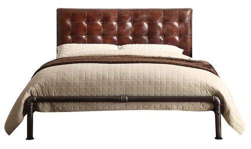 Malcolm Vintage Metal Upholstered Queen Size Bed