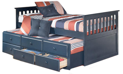 Bradley Twin Combo Captain's Bed Blue