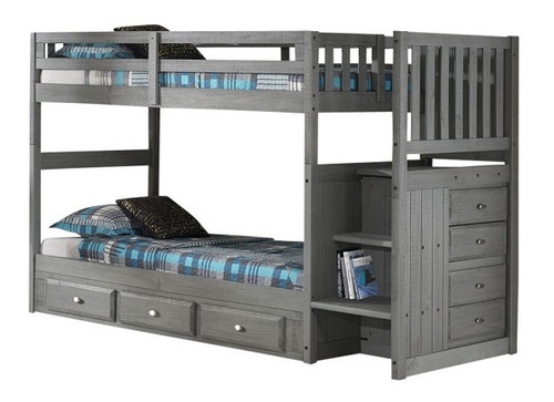 Mercer Chimney Gray Twin over Twin Bunk Beds with Stairs