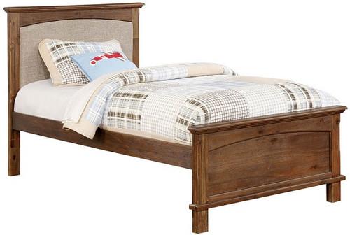Powell Twin Size Fabric Bed Dark Oak