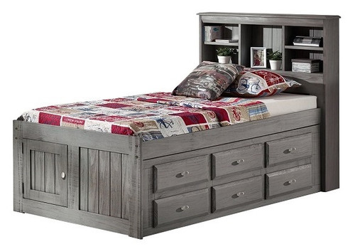 Mercer Chimney Gray Bookcase Twin Captains Bed