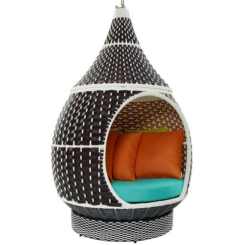 Aladdin Hanging Outdoor Patio Wicker Pod Brown and Turquoise