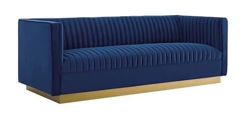 Pickwick Vertical Channel Tufted Performance Velvet Sofa