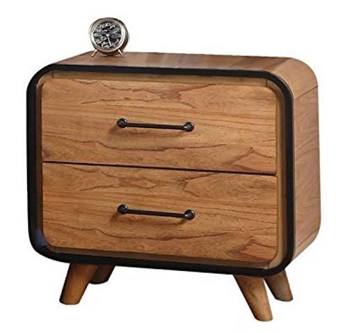 Jensen Oak and Black 2 Drawer Nightstand