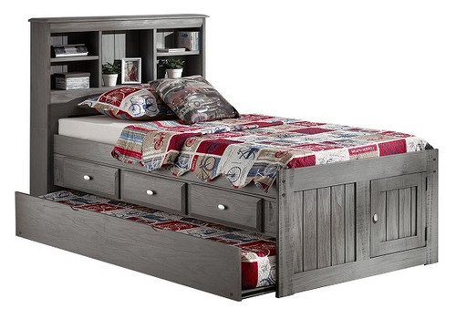 Mercer Chimney Gray Bookcase Twin Captains Bed with Trundle