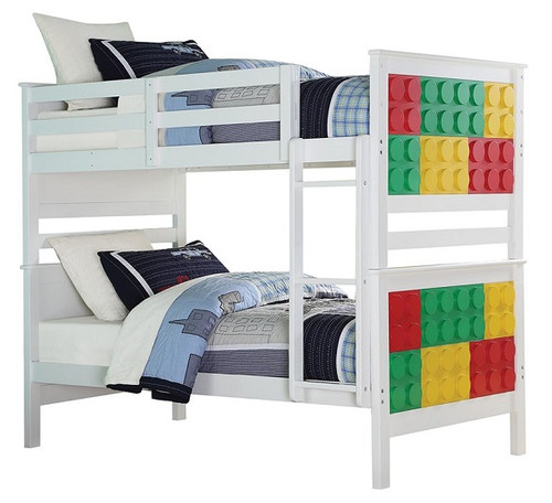 Rio White Building Block Twin Size Bunk Beds