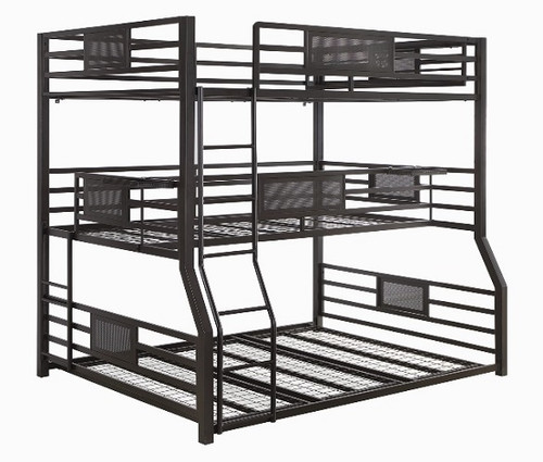 Triad Metal Full over Twin XL over Queen Triple Bunk Bed