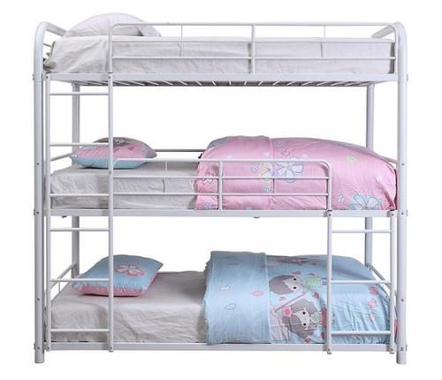 Hannah White Metal Triple Twin Bunk Bed