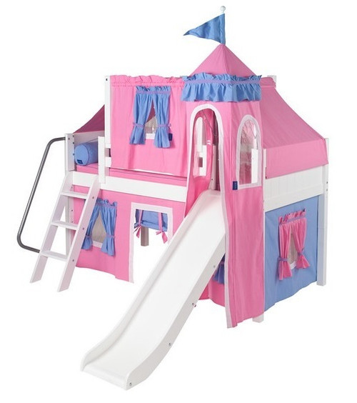 My Sweet Princess White Twin Girls Castle Bed with Slide