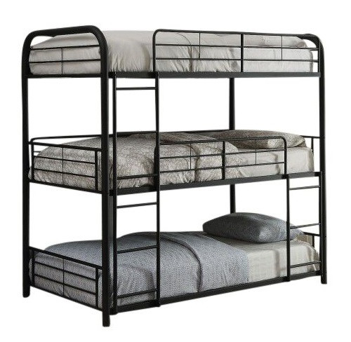 Mitchell Black Metal Triple Twin Bunk Bed