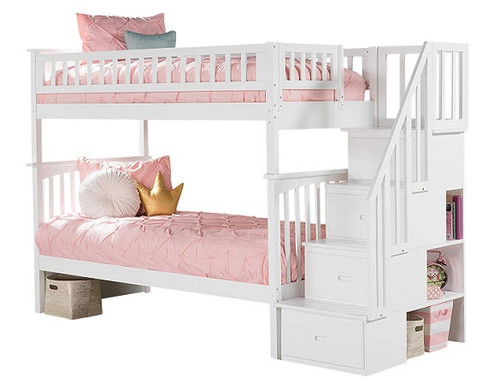 Ogden Twin over Twin White Bunk Bed with Stairs