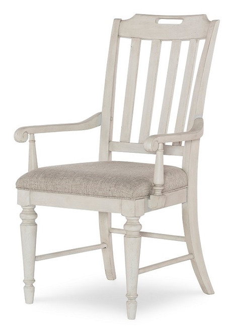 Westport Weathered White Farmhouse Kitchen Chairs with Arms