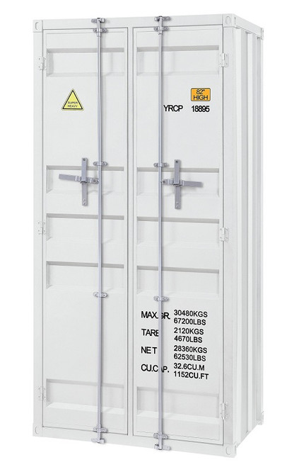 Shipping Container White Metal Storage Cabinet