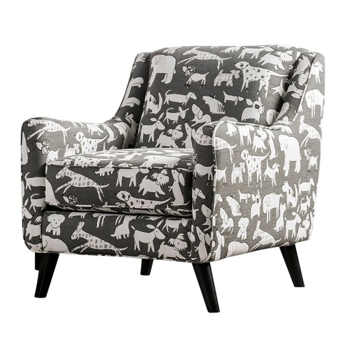 Barkley Gray Dog Pring Fabric Chair