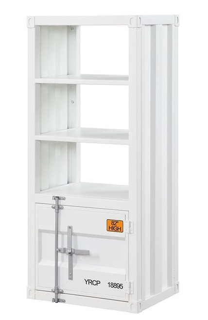 Shipping Container White Metal Bookcase