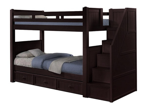 Foster Espresso Twin over Twin Bunk Beds with Stairs