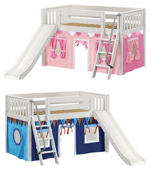 Casey's White Fort Kids Bed with Slide