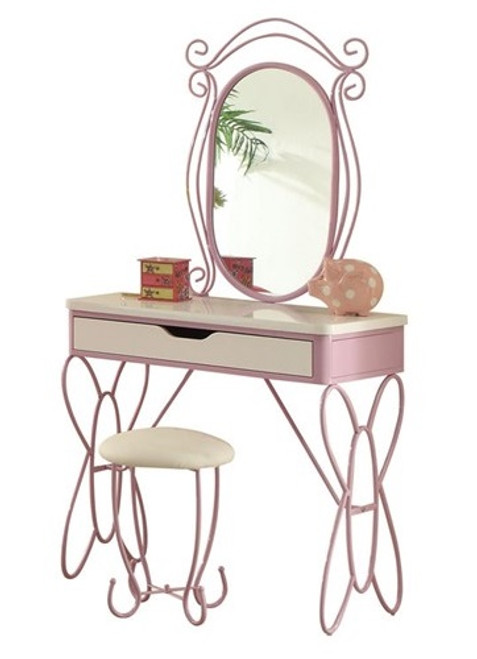 Kaia White and Purple Butterfly Girls Vanity Set