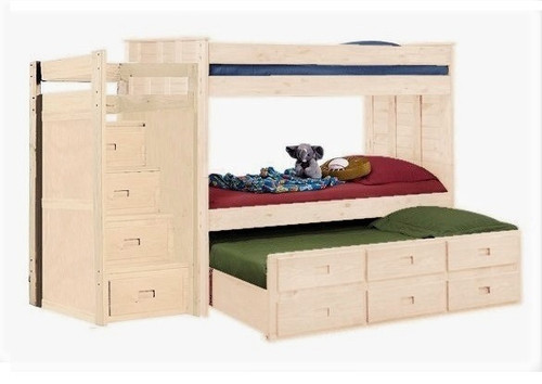 Raven Hill Unfinished Bunk Bed with Trundle and Stairs