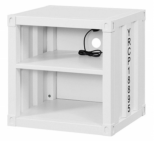 Shipping Container White Metal Nightstand