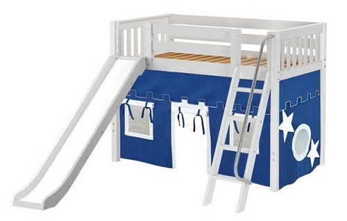 Chad's White Twin Playhouse Mid Loft Bed with Slide