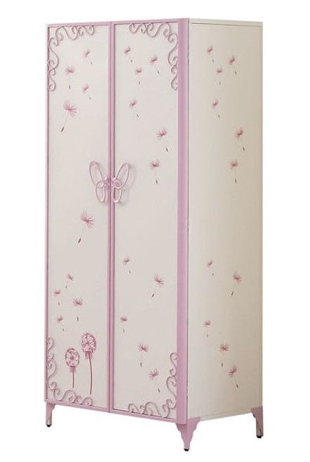 Kaia White and Purple Butterfly Girls Armoire