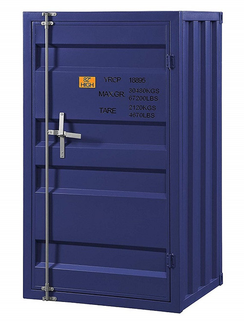 Shipping Container Blue Metal Chest angled