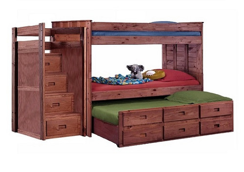 Raven Hill Mahogany XL Bunk Bed with Trundle and Stairs