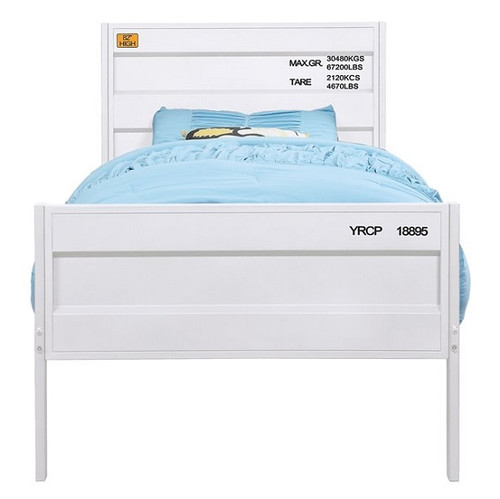Shipping Container White Metal Bed Frame Twin
