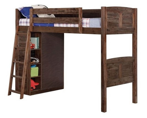Wilder Sandwashed Cocoa Twin Loft Bed with Storage