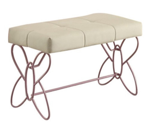 Kaia White and Purple Butterfly Girls Bed Bench