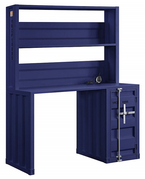 Shipping Container Blue Metal Desk angled
