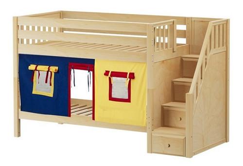 Caleb's Natural Playhouse Kids Twin Size Bunk Beds with Stairs