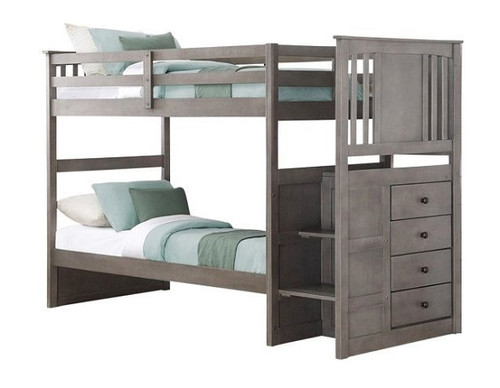 Barr Gray Twin Bunk Bed with Stairs