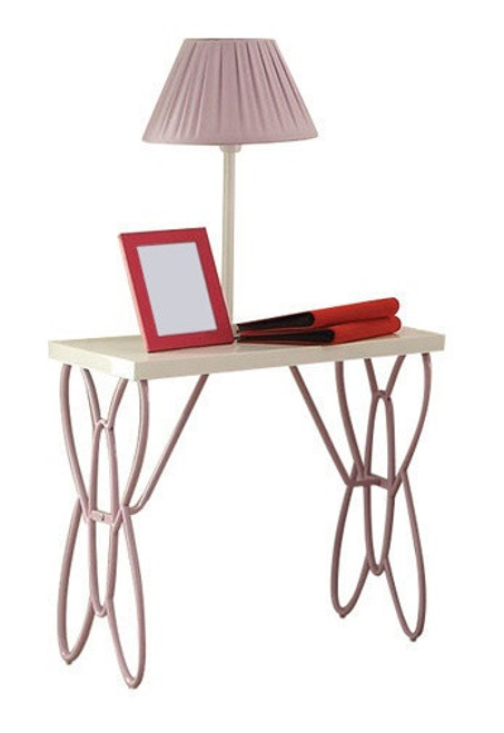 Kaia White and Purple Butterfly Girls Nightstand