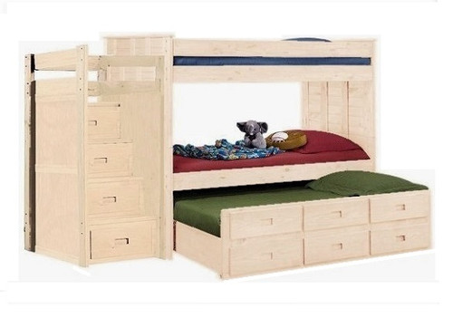 Raven Hill Unfinished Twin XL Bunk Bed with Trundle and Stairs