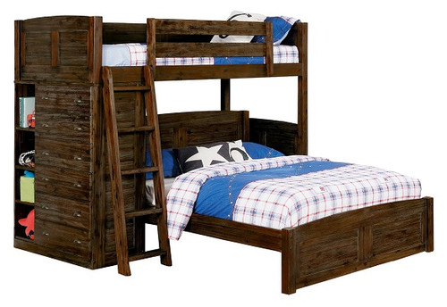 Wilder Sandwashed Cocoa Twin over Full L Shaped Bunk Bed