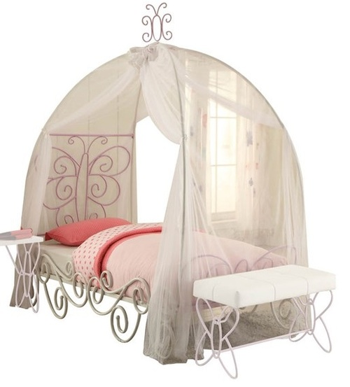 Kaia White and Purple Butterfly Girls Canopy Bed