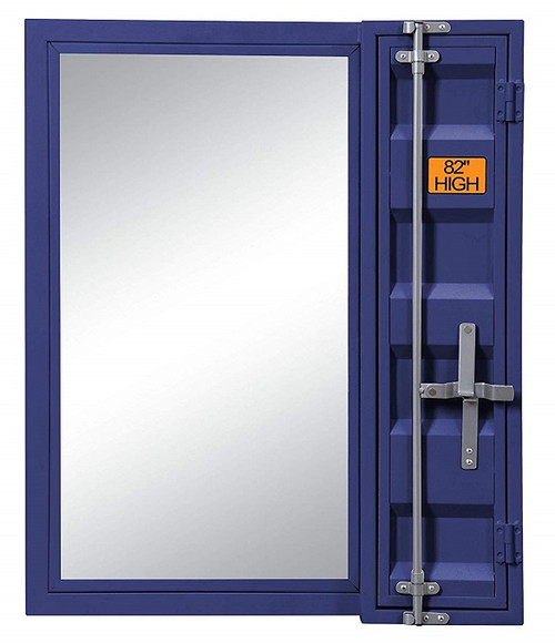 Shipping Container Blue Metal Vanity Mirror