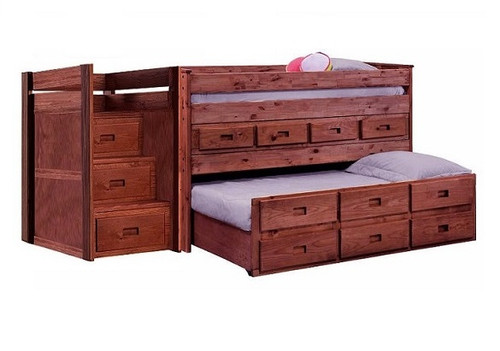 Duke Mahogany Low Loft Bed with Stairs and Storage